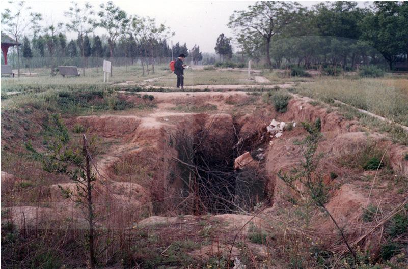 1991年当時の殷墟の発掘跡。