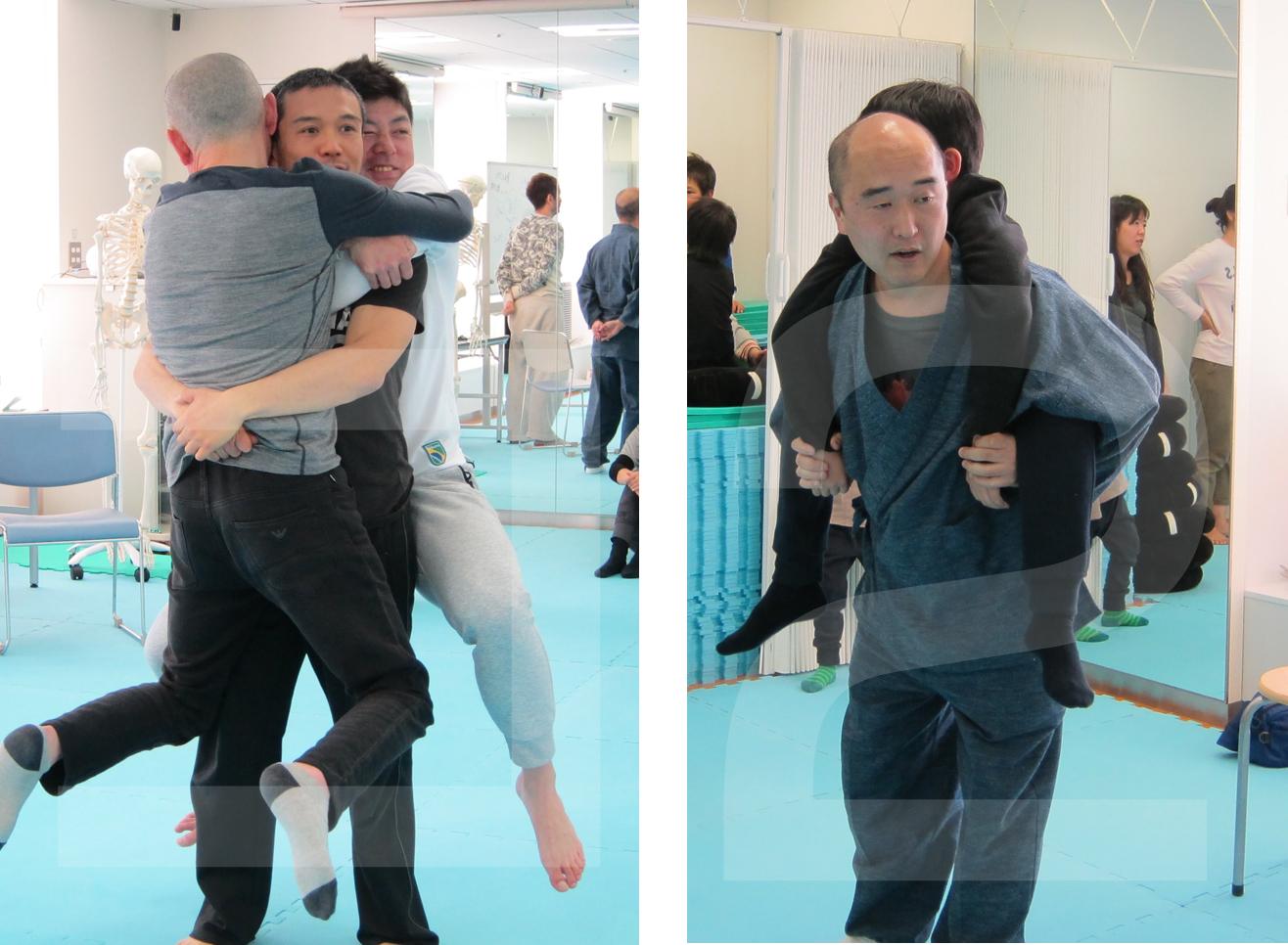 北川さん、山上さんから、おんぶと抱っこの安全なやり方のレクチャーもあり